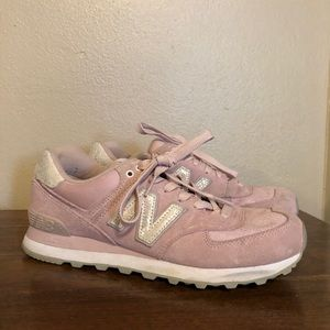 Pink & Pearl Suede New Balance Sneakers- Women's 9
